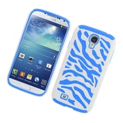 Insten Zebra Dual Layer Hybrid Rubberized Hard PC/Silicone Case Cover for Samsung Galaxy S4 i9500 - White/Blue