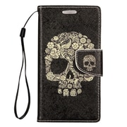Insten Skull Leather Case with Photo Display & Lanyard For Samsung Galaxy Grand Prime - Black/Beige