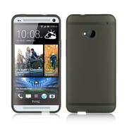 Insten Foggy TPU Rubber Case Tinted with Trim For HTC One M7 - Smoke/Black
