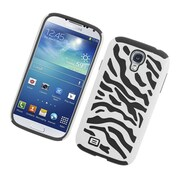 Insten Zebra Dual Layer Hybrid Rubberized Hard PC/Silicone Case Cover for Samsung Galaxy S4 i9500 - White/Black