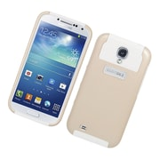 Insten Dual Layer Nest Hybrid Rubberized Hard PC/Silicone Case Cover for Samsung Galaxy S4 i9500 - Gold/White