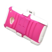 Insten Advanced Armor Dual Layer Hybrid Stand PC/Silicone Holster Case Cover for HTC One M7 - Hot Pink/White