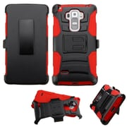 Insten Hard Hybrid Plastic Silicone Case w/Holster For LG G Stylo / G Vista 2 - Black/Red