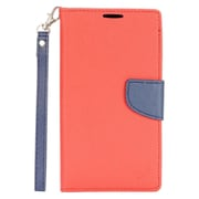Insten Folio Leather Fabric Cover Case Lanyard w/stand/card slot For LG Stylo 2 Plus - Red/Dark blue