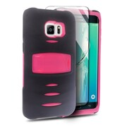 Insten Hybrid Rubber Hard Case with stand For Samsung Galaxy S6 Edge Plus - Black/Hot Pink