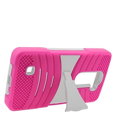 Insten Wave Symbiosis Soft Dual Layer Rubber Hard Case with stand For LG Volt 2 - Hot Pink/White