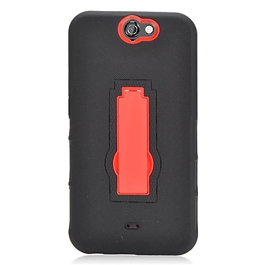 Insten Symbiosis Rubber Hybrid Hard Case w/stand For HTC One A9 - Black/Red