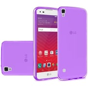 Insten Frosted TPU Rubber Skin Back Gel Shell Cover Case For LG Tribute HD / X STYLE - Purple