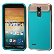 Insten Astronoot Dual Layer Hybrid Hard TPU Protective Case For LG Stylo 3 - Rose Gold Frame/Tropical Teal