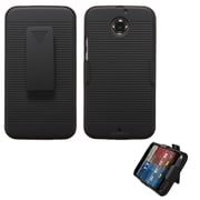 Insten Hard Rubberized Cover Case w/Holster For Motorola Moto X (2014 Version) - Black