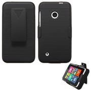 Insten Hard Rubberized Cover Case w/Holster For Nokia Lumia 530 - Black