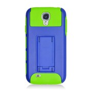 Insten Dual Layer Nest Hybrid Rubberized Hard PC/Silicone Stand Case Cover for Samsung Galaxy S4 i9500 - Dark Blue/Green
