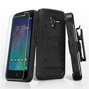 Insten Hard Dual Layer Plastic TPU Holster Case + Tempered Glass Screen Protector For Alcatel Stellar / Tru - Black