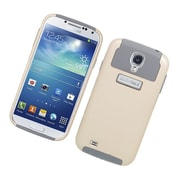 Insten Dual Layer Nest Hybrid Rubberized Hard PC/Silicone Case Cover for Samsung Galaxy S4 i9500 - Gold/Gray