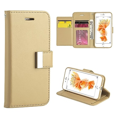 Insten Book-Style Leather Fabric Case Lanyard w/stand/card slot/Photo Display For Apple iPhone 7 - Gold