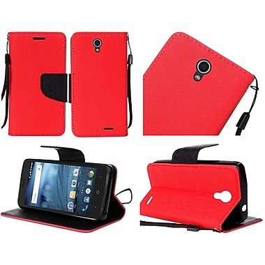 Insten Book-Style Leather Fabric Hard Case Lanyard w/stand/card holder For ZTE Avid / Cheers / Trio - Red/Black