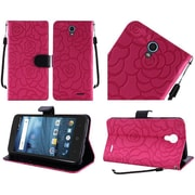 Insten Roses Book-Style Leather Fabric Case Lanyard w/stand/card slot For ZTE Avid / Cheers / Trio - Hot Pink/Black