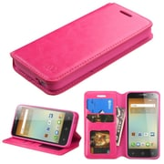 Insten Book-Style Leather Fabric Cover Case w/stand/card slot/Photo Display For Alcatel One Touch Elevate - Hot Pink