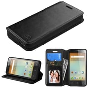 Insten Book-Style Leather Fabric Case w/stand/card holder/Photo Display For Alcatel One Touch Elevate - Black