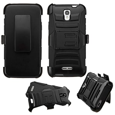 Insten Hard Dual Layer Plastic Silicone Case w/Holster For Alcatel One Touch Elevate - Black