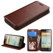 Insten Folio Leather Fabric Cover Case w/stand/card holder/Photo Display For Alcatel One Touch Elevate - Brown