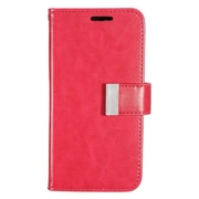 Insten Flip Leather Fabric Credit Card Case w/ Photo Display for Samsung Galaxy S7 Edge - Hot Pink