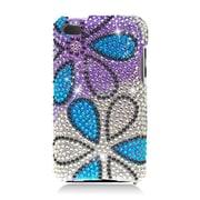 Insten Flowers Hard Diamond Cover Case For Apple iPod Touch 4th Gen - Purple/Blue