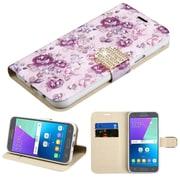 Insten Fresh Purple Flowers Diamante Wallet Card Leather Flip Stand Case For Samsung Galaxy Express Prime 2/J3 (2017)