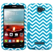 Insten Tuff Wave Hard Dual Layer Rubber Coated Silicone Cover Case For Alcatel One Touch Fierce 2 7040T - Blue/White