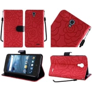 Insten Roses Folio Leather Fabric Case Lanyard w/stand/card slot For ZTE Avid / Cheers / Trio - Red/Black