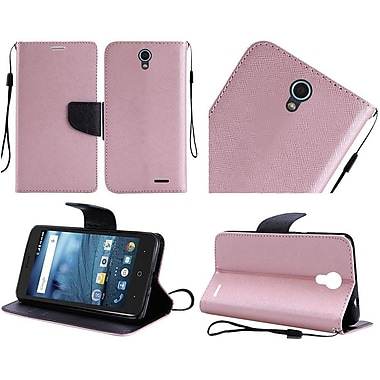 Insten Book-Style Leather Fabric Hard Case Lanyard w/stand/card holder For ZTE Avid / Cheers / Trio - Rose Gold/Black