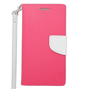 Insten Wallet Leather Case with Lanyard & Card Slot For Alcatel One Touch Fierce 2 7040T/Pop Icon - Pink/White