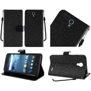 Insten Roses Book-Style Leather Fabric Case Lanyard w/stand/card slot For ZTE Avid / Cheers / Trio - Black