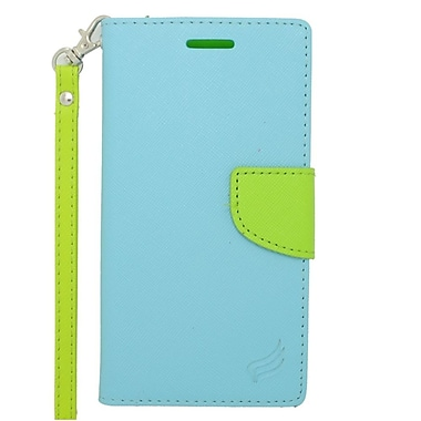 Insten Wallet Leather Case with Stand & Card slot For Alcatel One Touch Fierce 2 7040T/Pop Icon - Light Blue/Green