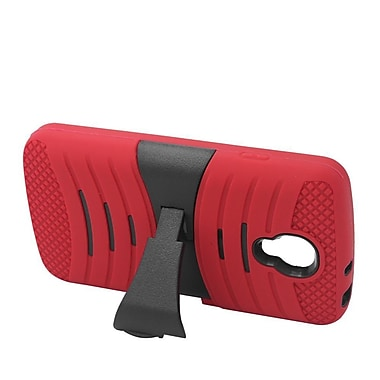 Insten Wave Symbiosis Silicone Dual Layer Rubber Hard Stand Case For LG Volt - Red/Black