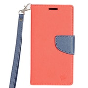 Insten Book-Style Leather Fabric Case Lanyard w/stand/card holder For LG K3 LS450 - Red/Dark blue