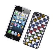 Insten Checker Dual Layer Hybrid Silicone/PC Case Cover with Diamond for Apple iPhone 5 / 5S - Black/White/Colorful