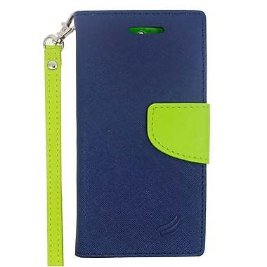Insten Folio Leather Case with Lanyard & Photo Display For ZTE Obsidian - Dark Blue/Green