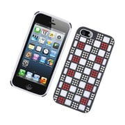 Insten Checker Dual Layer Hybrid Rubber Silicone/PC Case Cover with Diamond for Apple iPhone 5 / 5S - Black/White/Red