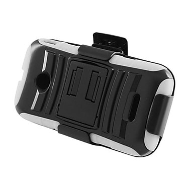 Insten Advanced Armor Hybrid Stand PC/Silicone Holster Case Cover for Huawei Prism 2 II U8686 (disabled) - Black/White
