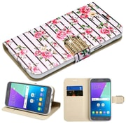 Insten Pink Fresh Roses Diamante Wallet Card Leather Flip Stand Case For Samsung Galaxy Express Prime 2/J3 (2017)