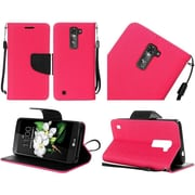 Insten Book-Style Leather Case Stand Cover For LG K7 / Tribute 5 - Hot Pink/Black