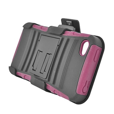 Insten Advanced Armor Dual Layer Hybrid Stand PC/Silicone Holster Case Cover for Apple iPhone 4 / 4S - Black/Hot Pink