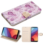 Insten Fresh Purple Flowers Diamante MyJacket Wallet Credit Card Leather Flip Stand Case For LG G6
