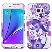 Insten Tuff Hibiscus Flower Romance Hard Hybrid Rubber Coated Cover Case For Samsung Galaxy Note 5 - Purple/White