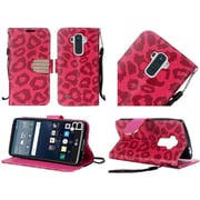 Insten Leopard Folio Leather Fabric Cover Case Lanyard w/stand/card slot/Diamond For LG G Stylo - Hot Pink/Black