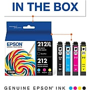 Epson T212XL Black High Yield, Cyan/Magenta/Yellow Standard Ink Cartridges, 4/Pack (T212XL-BCS)