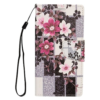Insten Flowers Leather Stand Card Case Lanyard w/ Photo Display for Samsung Galaxy S7 Edge - Black/White
