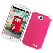 Insten Hard Hybrid Rubber Silicone Case For LG Optimus Exceed 2 VS450PP Verizon/Optimus L70/Realm - Hot Pink/White