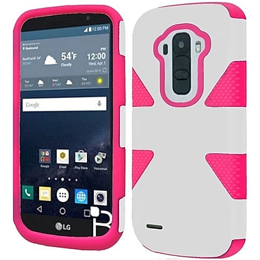 Insten Dynamic Hard Hybrid Rugged Shockproof Rubber Coated Silicone Case For LG G Stylo - White/Hot Pink